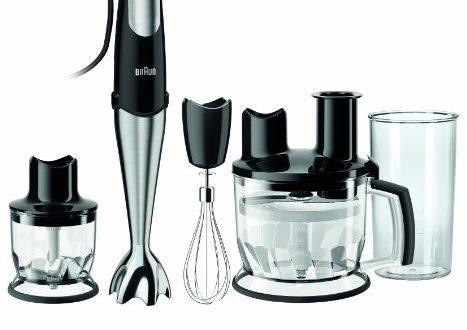 Braun Multiquick MQ 785 Pâtisserie Plus Stabmixer - mit SmartSpeed-Technologie, Pürierstab, Zerkleinerer & Küchenmaschine, 750 W, inkl. 4-teiligem Zubehör-Set, schwarz/Edelstahl